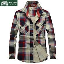 2018 Plaid Shirt Men 100% Cotton Spring Summer Autumn Long Sleeve Deni