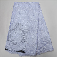 2020 White Latest African Cotton Swiss Voile Lace Fabric High Quality African Swiss Voile Lace In Switzerland For Party PSA90 2