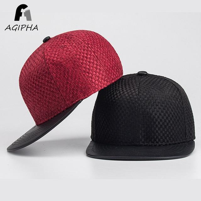 Fitted Snapback Baseball Cap For Men And Women Cotton Linen Pu Leather Hip  Hop Caps Summer Black Flat Bill Hats 03da0b8801