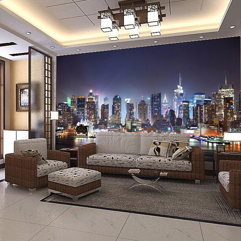Aliexpress Buy Beibehang Custom 3D Photo Wallpaper New York City Night Wall Painting Art Mural Living Room TV Background Papers From