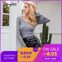 Simplee Sexy lace up knitting pullover Fashion flare sleeve autumn winter sweater women tops Casual hollow out jumper pull femme