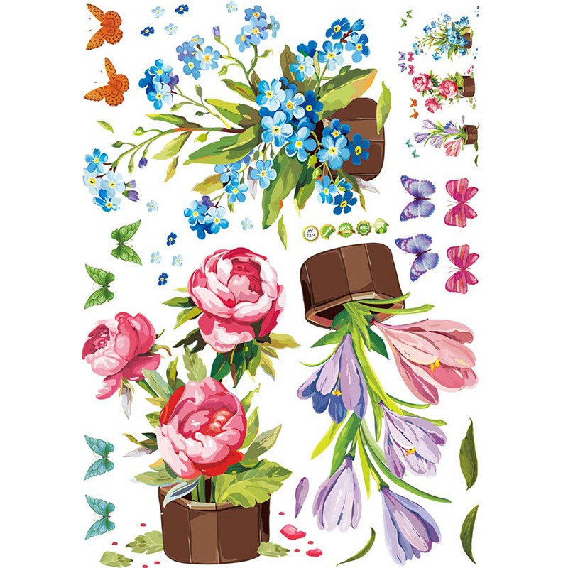 2018 Hand painted Potted Wall Sticker Flower Vinyl