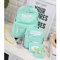 RORETE 4PCS women Canvas College Student School Backpack Casual Rucksacks Laptop Travel Bag Backpacks Women Mochila Female bag