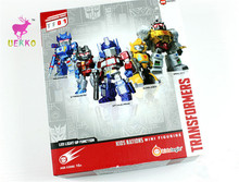 UEKKO 5pcs/set anime figure toy Transformation  Q version Movable light-emitting action Model For Collection / Gift Original Box