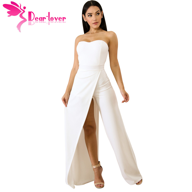 Dear Lover Long Pants Overalls for Women Sexy Red Asymmetric Split Leg Strapless   Jumpsuit   2018 New Femme Club Rompers LC64377