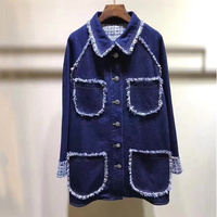 Denim Jacket Woman 2018 Fall Fashion Single Breasted Button Long Sleeve Jackets Coat With Pockets Jean Embroidery Jackets