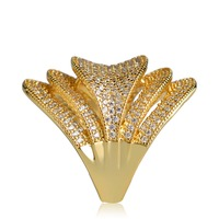 Dazz Exaggerated Oval Zircon Rings For Women Man India Gold Silver Color Wedding Bridal Aros Finger Accessories Bijoux