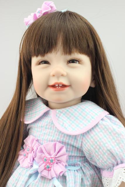 Frete Grátis 55 cm 22 inch Vinil Presente para As Meninas Da Criança Bebe Reborn Bonecas Com Sorriso Feliz Bem-vindo Quente Cedo Enducational Bonecas