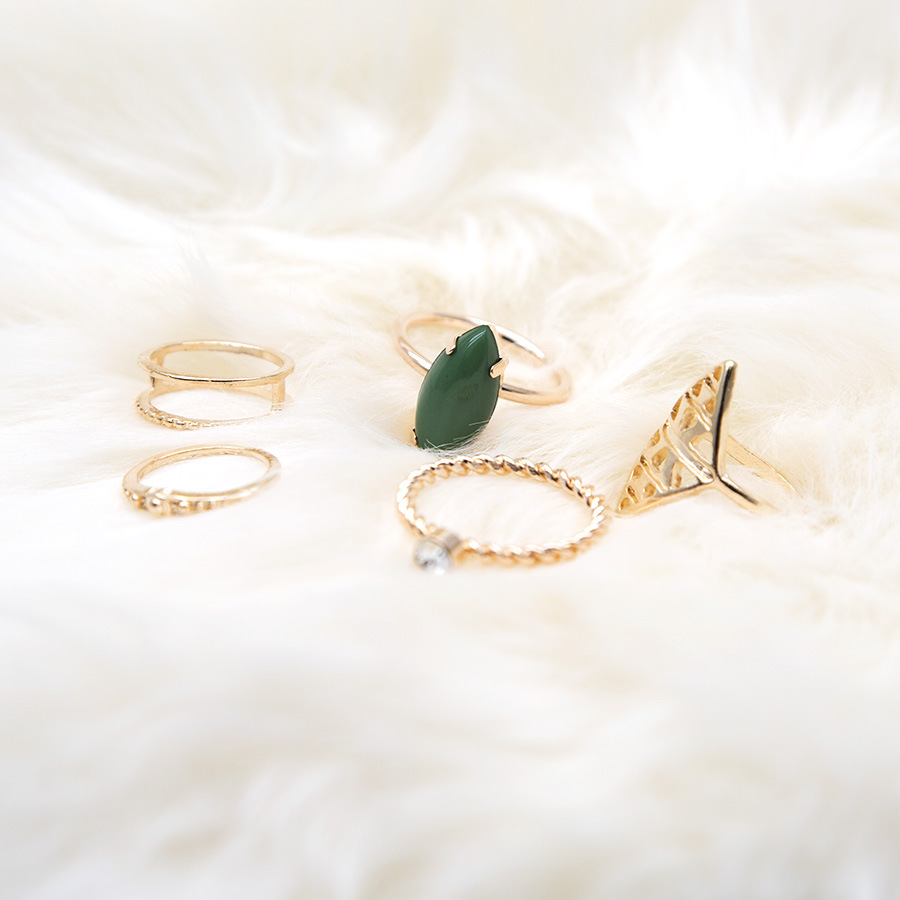 5pcs/Set Vintage Punk Green Stone Ring Set Hollow Antique Golden Plated Lucky midi Rings Women Boho Beach Jewelry Natural Stone