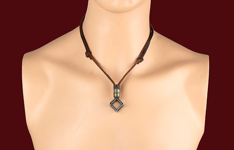 100% Genuine Leather Necklaces Pendants With Box Punk Vintage Adjustable Brown Rope Chain Male Jewelry Mens Jewellery Sautoir (2)