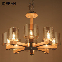 IDERAN Pendant Lights Wooden Glass Lamp 2017 New Modern Shade E14 Bulb 4 Heads 6 Heads 8 Heads Nordic Style For Decor Indoor LIG