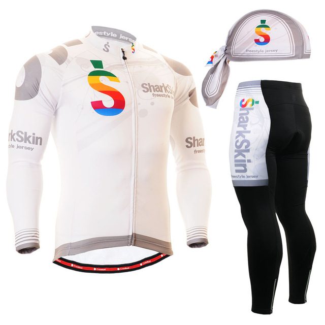 2016 long sleeve crop top Brand Breathable Riding Wear Quick dry GEL Pad MTB Bike Clothing white cycling sets