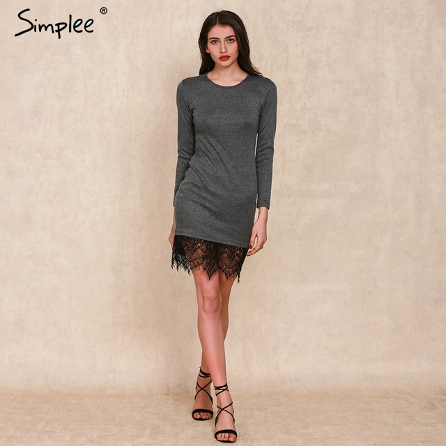 Simplee Apparel Elegant black lace gray bodycon dress evening party long sleeve winter dress Women casual vestidos de fiesta