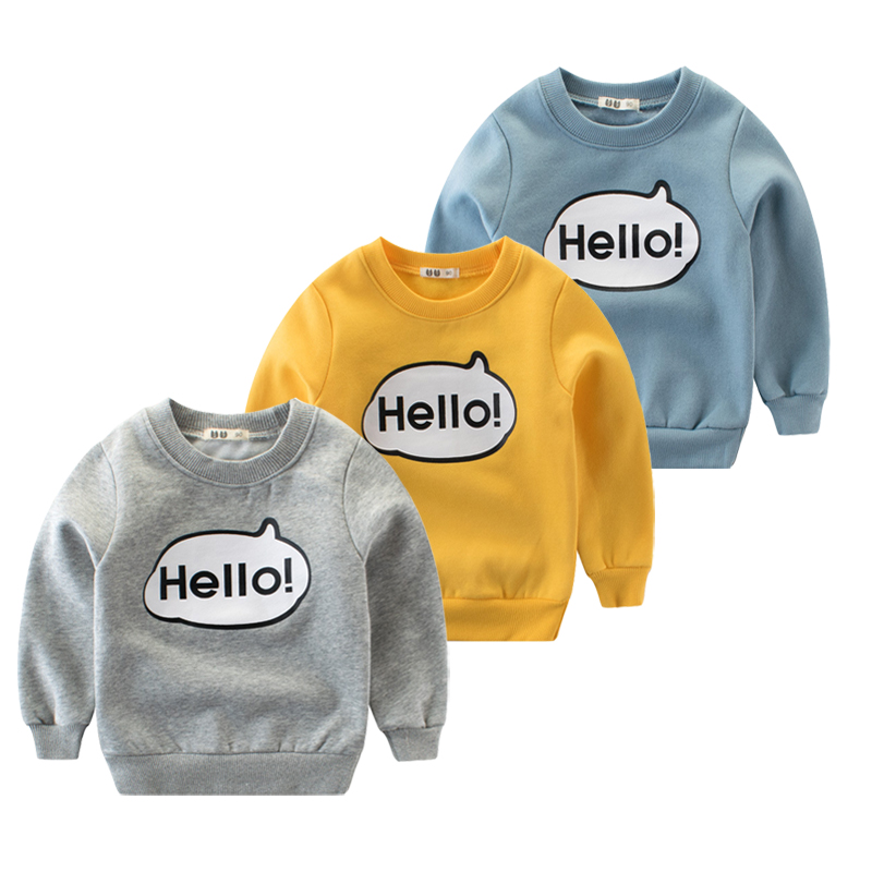 Boys Clothing,2018 Baby Tops Fleece Wear Spring Winter Sweatshirt Kids Hello Clothes For Boys Children Girl Clothing Print