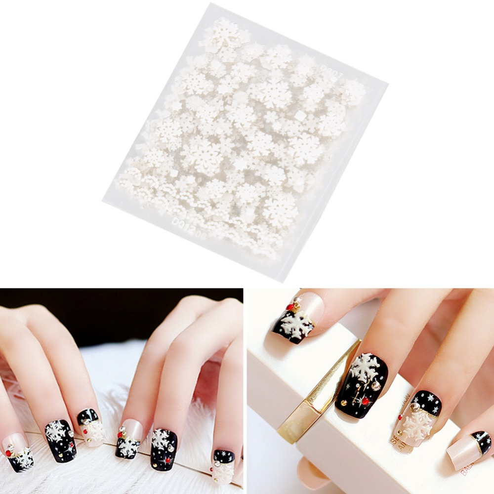 12pcs/Set Nail Art Sticker Decals DIY Gel Nails White Snowflake Christmas Makeup Nail Stickers Manicure Polish Decoration Tools one bottle cute white little snowflake pattern nail sticker