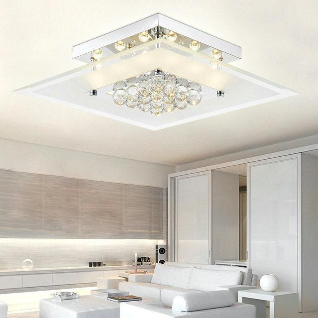 Square Modern Led Crystal Ceiling Light Lamparas De Techo
