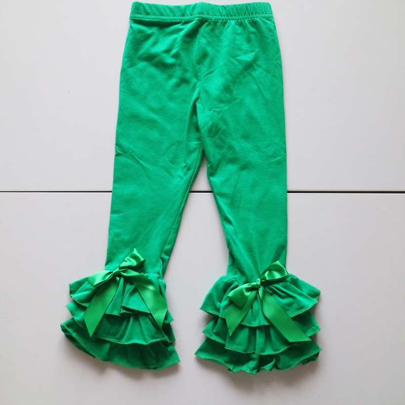 wholesale girl ruffle triple leggings Christmas ruffle bows leggings dress boutique children fern green leggings