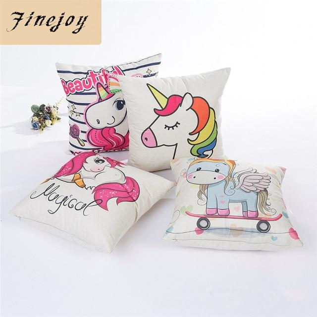 Fine Joy Cute Unicorn Decorative Cushion Cover Cotton Linen Square