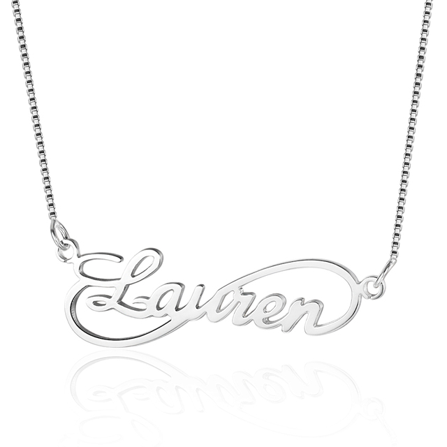 Infinity Love Women Name Necklaces 8 Shape Personalized 925 Sterling Silver Arab