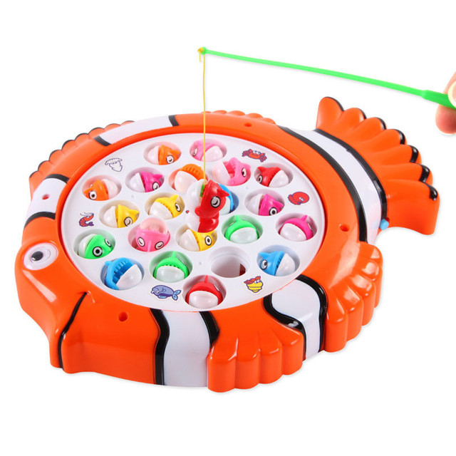 Plastic Electric Rotating Magnet Fishing Game Kid Children Educational Toy Puzzle Toy Electric Music Plate Game P25