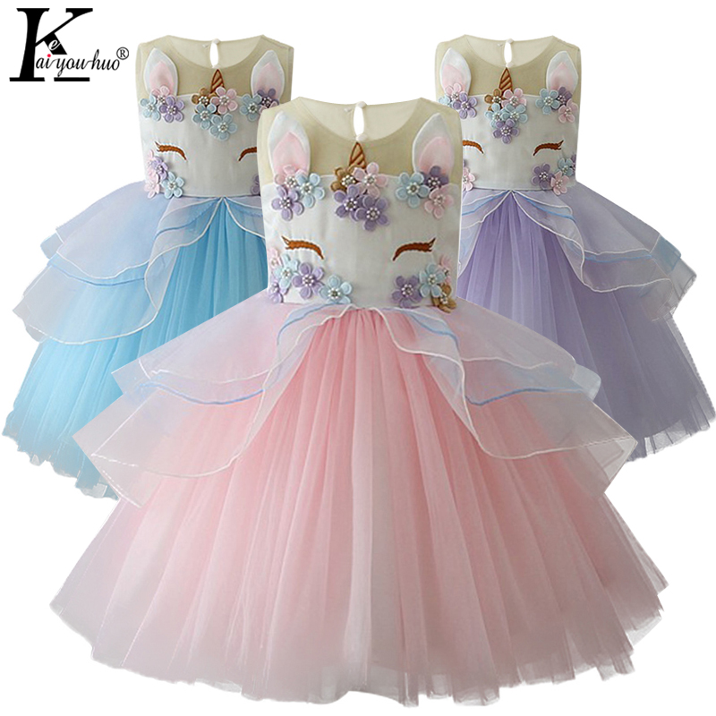 Unicorn Party Girls Dress Elegant Cinderella Elsa Christmas Dress Costume Summer Wedding Dresses For Kids Moana Dresses For Girl girls dresses trolls poppy cosplay costume dress for girl poppy dress streetwear halloween clothes kids fancy dresses trolls wig