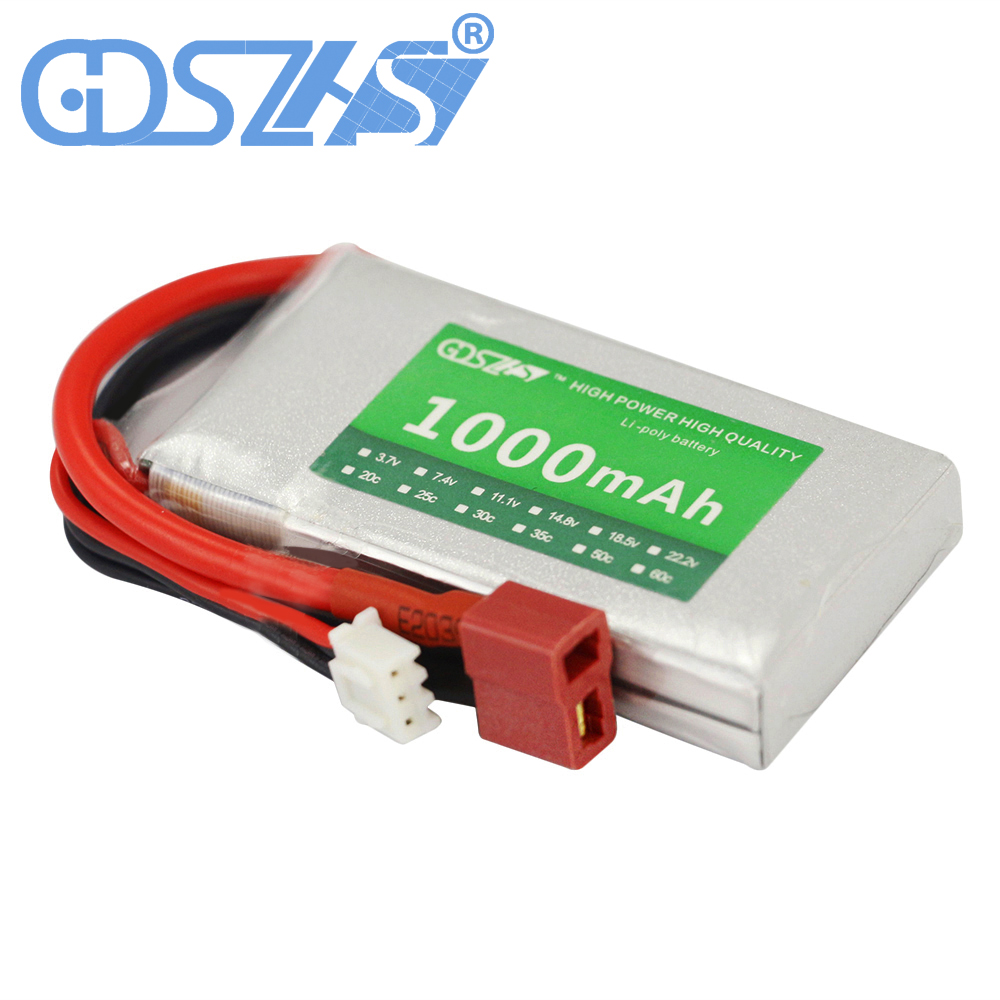 GDSZHS 7.4V 1000mAh 2S 25C Lipo Battery Rechargeable Battery Pack JST Plug T Pluy for RC Car Truck Truggy RC Hobby 3 6v 2400mah rechargeable battery pack for psp 3000 2000