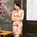 New Short Sleeve Qipao Traditional Cheongsam Dress Lovely Flowers Qipao Dresses Chinese Style Dress