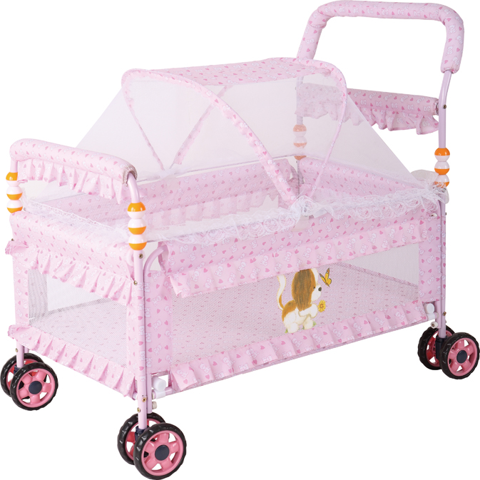 Free Shipping 2 In1 Metal Baby Crib U0026 Baby Stroller Bedding Set With Fabric  Mosquito Net Infant Crib Baby Bed,Pink