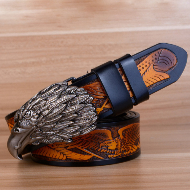 Eagle Designers Luxury Fashion Vintage Male Strap Brand Genuine Leather Belts for Men Punk Cowskin for Jeans Cintos Ceinture