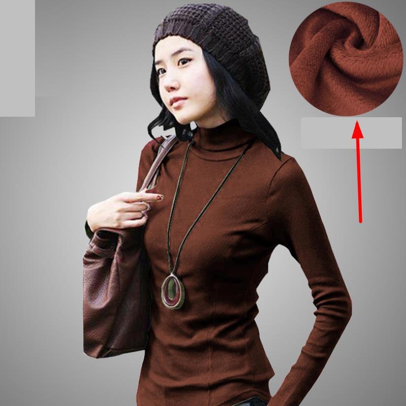 Naturalne bawełniane damskie swetry Dzianinowa koszula z golfem - Ubrania Damskie - Zdjęcie 6