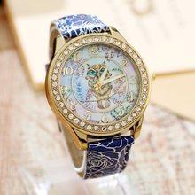 d99ba2798d23 Gnova Platinum pu cuero pequeño búho estilo mujer reloj vintage retro  mujeres reloj Golden RIM chica dama señora reloj