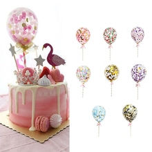 """1 шт. 5 дюймов воздушный шар """"Конфетти"""" торт Топпер украшение с бумажной соломенной лентой стол детский душ один день рождения свадебные принадлежности"""