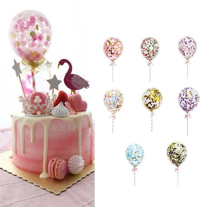 1pc 5inch Confetti Balloon Cake Topper Decoration with Paper Straw Ribbon Table Baby Shower One Birthday Wedding Party Supplies