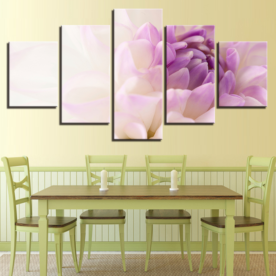 Canvas Painting Wall Art Home Decor Frame 5 Pieces Beautiful White ...