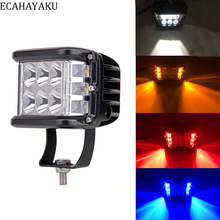 цена на ECAHAYAKU 2x 4 Inch LED work light bar White Amber Flash light For car jeep Wrangler Offroad SUV ATV UTV 4WD 12V 4x4 fog lamp