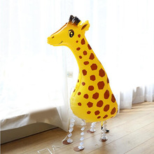 KAMMIZAD Walking Ballloons Giraffe Animal Children Birthday Party Gift 10pcs/lot Jungle Forest Helium Globos