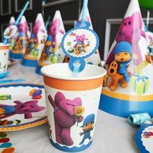 POCOYO Kinderen Verjaardagsfeestje Supplies Cartoon Decoratie Ballon Servies Cup Plaat Hoed Tiga kinderen Dag Baby Shower