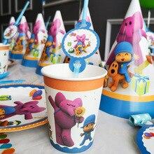 POCOYO เด็กอุปกรณ์งานเลี้ยงวันเกิดตกแต่งการ์ตูนบอลลูนบนโต๊ะอาหารถ้วยหมวก Tiga เด็กวันเด็กอาบน้ำ