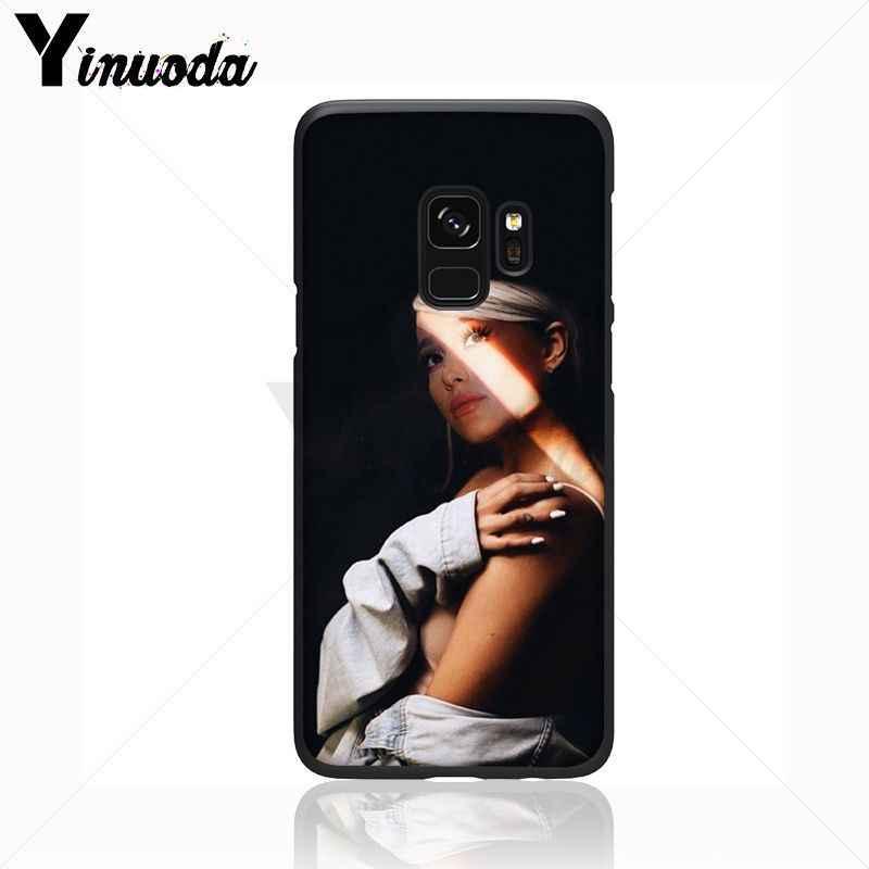 Yinuoda Ariana Grande Dễ Thương Ca Sĩ Ngọt Ngào Màu Đen Điện Thoại Di Động Trường Hợp Đối Với Samsung Galaxy s8 s9 cộng với lưu ý 8 note9 s7 s10 lite bìa