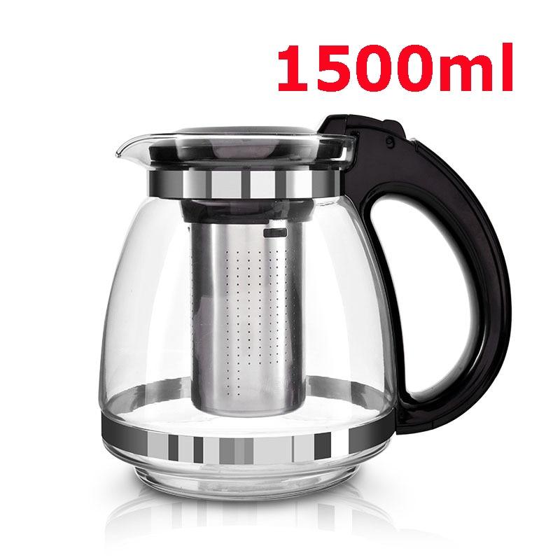 Hot Sale Eredeti 1500ml üveg teáskanna Otthoni és irodai teáskanna vízforraló ivóvíz hőálló rezisztens rozsdamentes acél szűrő Ingyenes szállítás