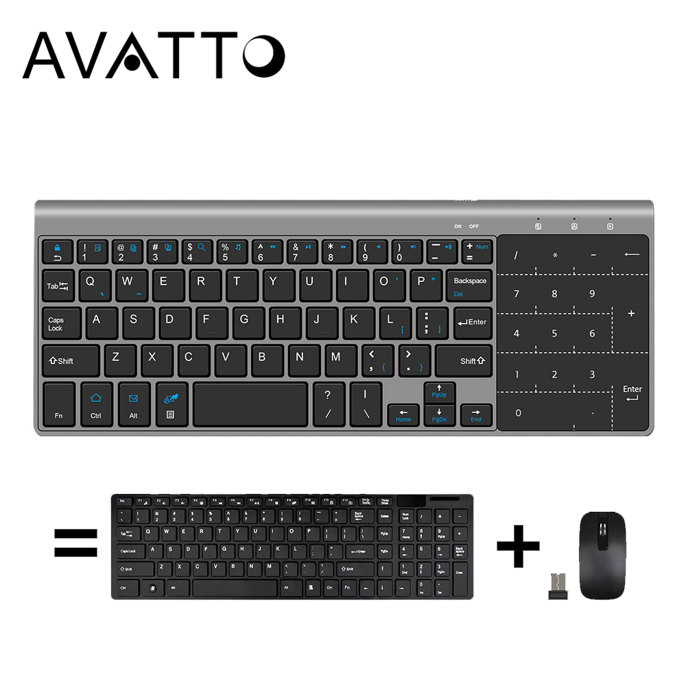 [AVATTO] Ultra-thin Touchpad Multimedia Mini Keyboard With 2.4G USB Wireless Keypad For Windows IOS Android PC,Desktop,Laptop