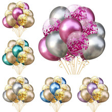 15pcs 12inch Metal Color Latex Balloons Clear Confetti Set Wedding Decoration Birthday Party Adults Supplies