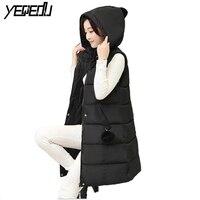 #0724 Kış Kalın jile femme Bodywarmer Kolsuz hoodie yelek Kadınlar kış yelek Uzun İnce Kolsuz ceket Yelek kadın