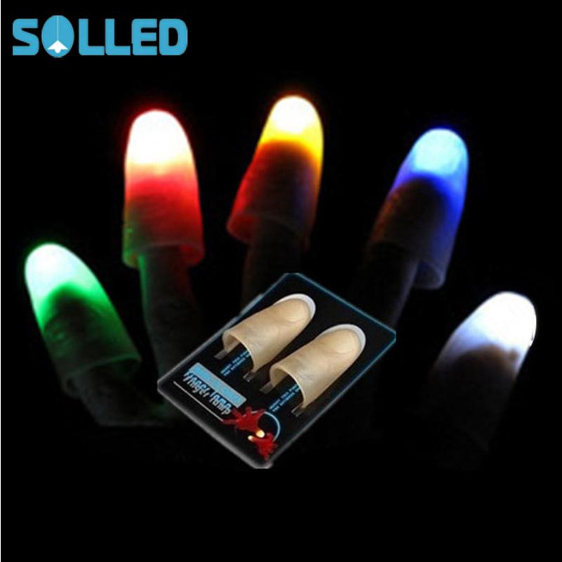 SOLLED 1 Pair Creative Magic Thumb Tip LED Light Magic Trick Finger Lights For Dance Party Props - Blue/Green/Red Light