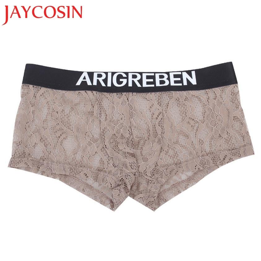 JAYCOSIN Newly 2018 Men's Sexy Lace Ultra-Thin Yarn Comfortable Uderwear Underpants Panties Dropshipping Jun 13