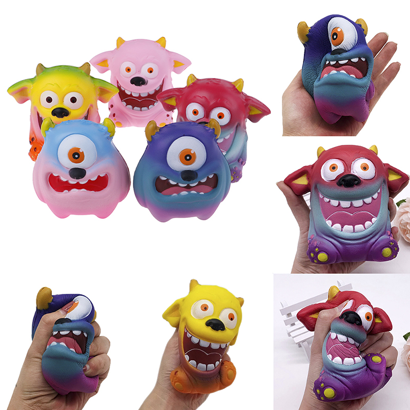 Jumbo Kawaii Colorful Demon Monster Galaxy Squishy Doll Slow Rising Stress Relief Squeeze Toys For Baby Kids Xmas Gift