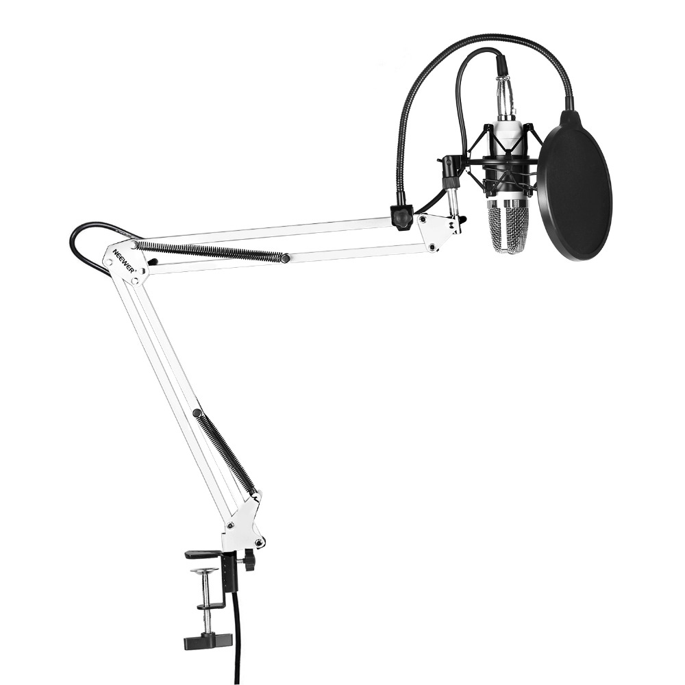 Neewer NW-700 Microphone Kit:(1)Condenser Microphone+(1)Suspension Scissor Arm Stand+(1)Pop Filter+(1)Shock Mount(White) цена