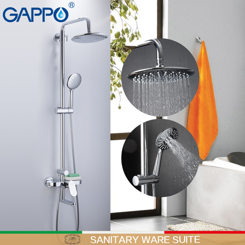 GAPPO Sanitary ware suite brass and ABS shower sets wall shower faucets showers bathroom rainfall mixer shower griferia