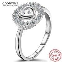925 Sterling Silver Jewelry Ring Inlay Shining Zirconia Rings for Women Round Shape Heart Wedding Rings Women Jewelry GTR069