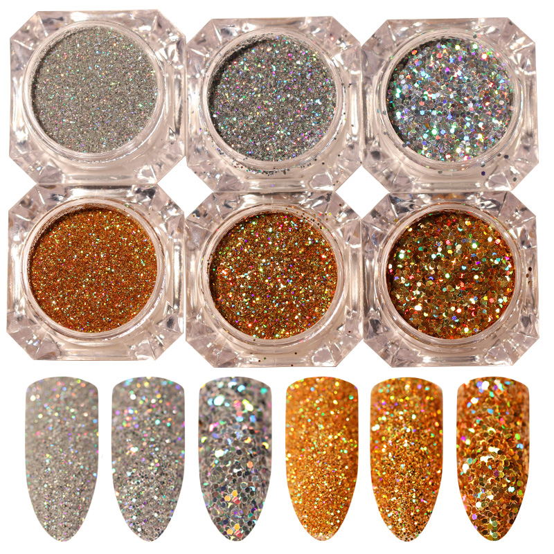 6pcs Holo Gold Silver Nail Sequins Nail Glitter Laser Hologram Paillettes Nail Art Debu Powder Manicure Holographic